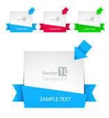 Vector banner with ribbon and color arrows — Stock Vector