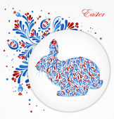 Abstract floral easter rabbit. Vector — Stock Vector