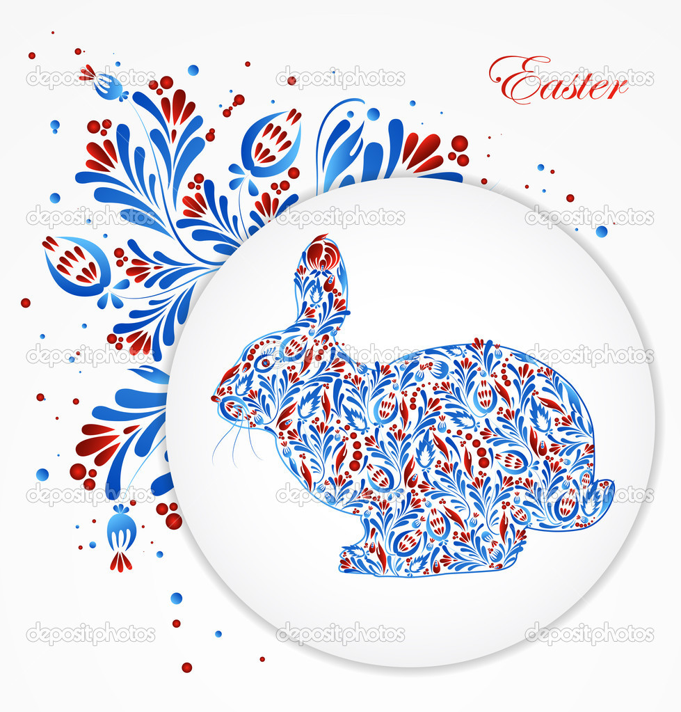 Abstract floral easter rabbit. Vector. eps 10 — Stock Vector #9011792
