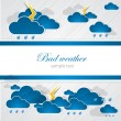 Bad weather blank. Sky with clouds and lightnings — Stock Vector