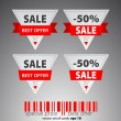 Set of red triangle vector sale tickets. — Stock Vector