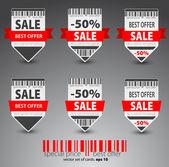 Set of red vector sale tickets. — Stock Vector