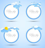 Set of good weather round backgrounds. Blue sky with clouds. Vector — Stock Vector