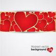 Background with red hearts. Vector — Stock vektor