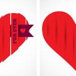 Valentine paper heart. Vector — Stock Vector