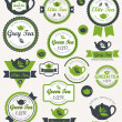 Set of vintage retro tea badges and labels. Vector — Stock Vector
