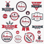 Set of vintage retro bakery badges and labels. Vector — Stockvektor