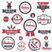 Set vintage retro bäckerei abzeichen und etiketten. vektor — Stockvektor