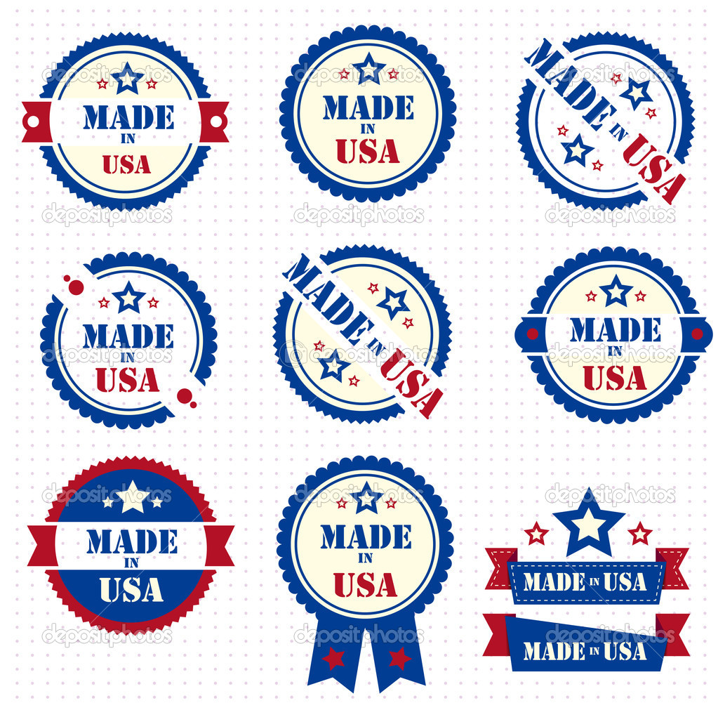 Set of labels MADE IN USA. Vector. eps 10 — Stock Vector #9839499