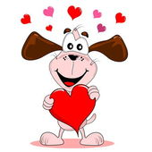 Cartoon dog with love heart — Vettoriale Stock