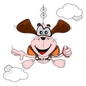 Carton dog parachuting — Stock Vector