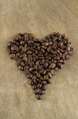 Coffee beans in a heart shape — Stock Photo
