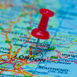 Thumbtack on map - London — Stock Photo