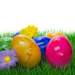 Painted Easter eggs on grass — Stock Photo