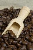 Taze kahve çekirdekleri ve ahşap kepçe — Stok fotoğraf