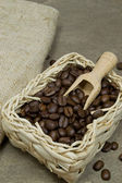 Fresh coffee beans in a basket — Stock Photo