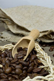 Coffee beans in a basket — Stock Photo
