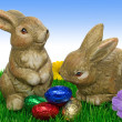 Easter bunnies on grass — Stock Photo