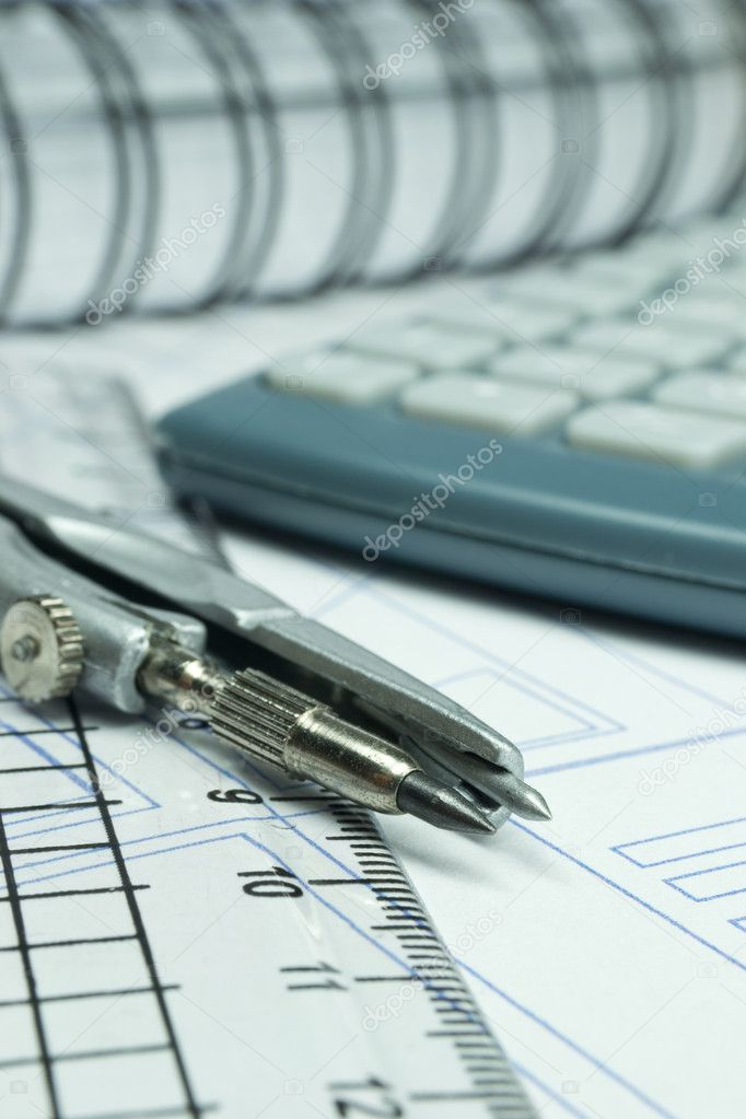 Architectural concept with blueprint building plans and architects tools — Stock Photo #9401141