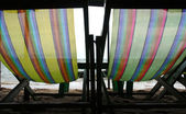 Beach chairs background — Stock Photo