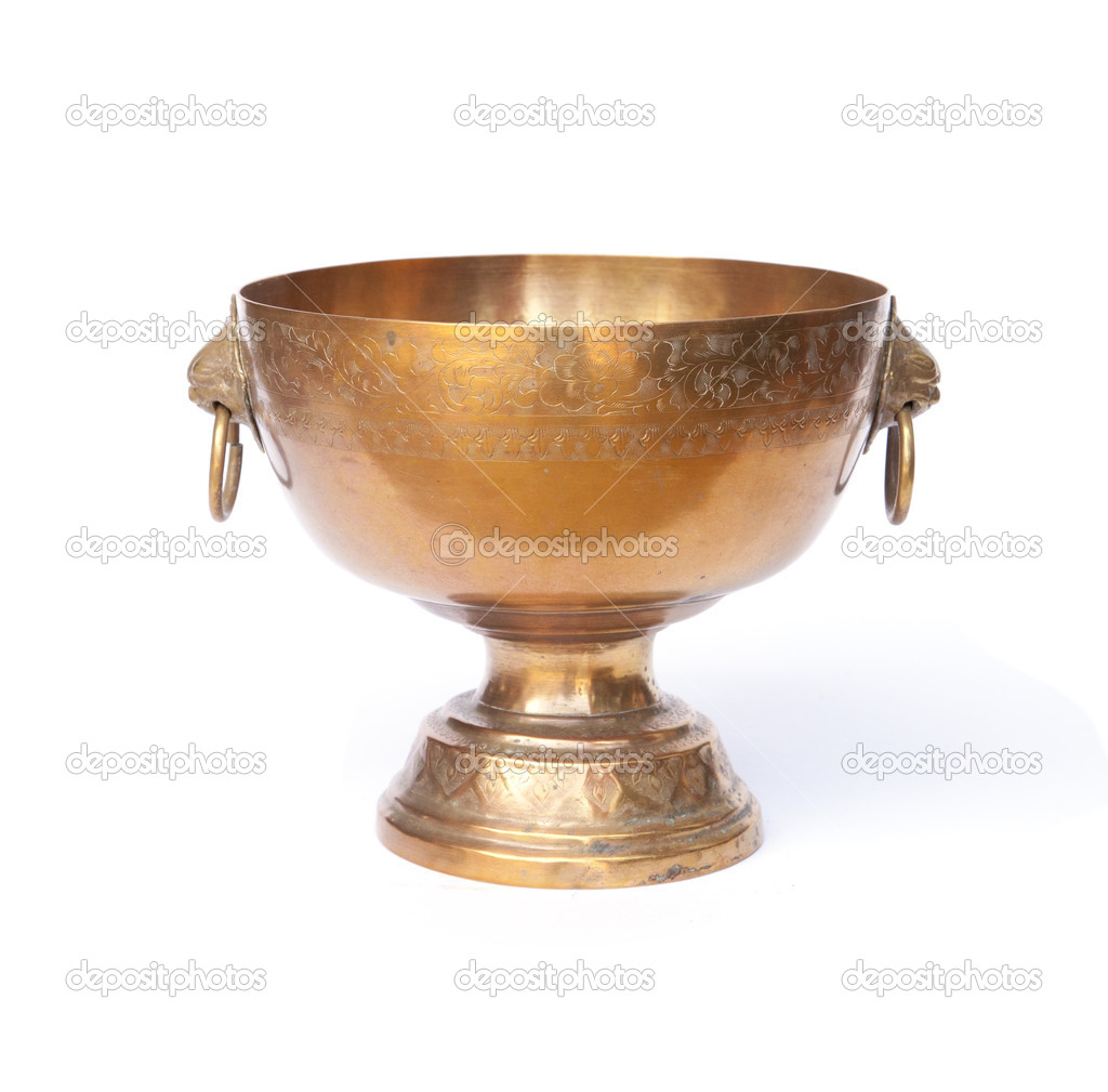 Old antique vintage gold, brass bowl, on white background — Stock Photo #10669077