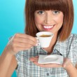 Attractive young woman drinking an espresso coffee — Stock Photo #10114313