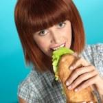 Beautiful young woman eating a big sandwich — Stock Photo #10114455