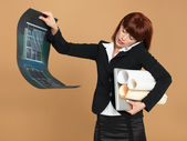 Busy, young architect holding laptop, papers, telephone — Stock Photo