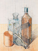 Colored still life study on object composition — Stock Photo