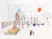Sketched perspective of outdoors children's playground — Stock Photo