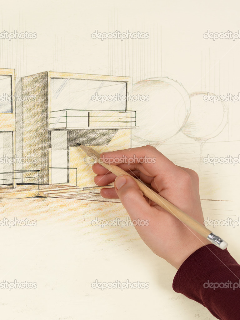 Womans hand drawing architectural sketch of house — Stock Photo ... - ^