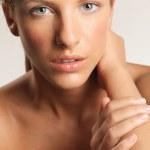 Closeup beauty portrait of young, blonde woman — Stock Photo