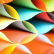 Curved, colorful sheets paper with mirror reflexions — Stockfoto