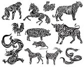 Stylizaed Chinese Zodiac — Stock Vector