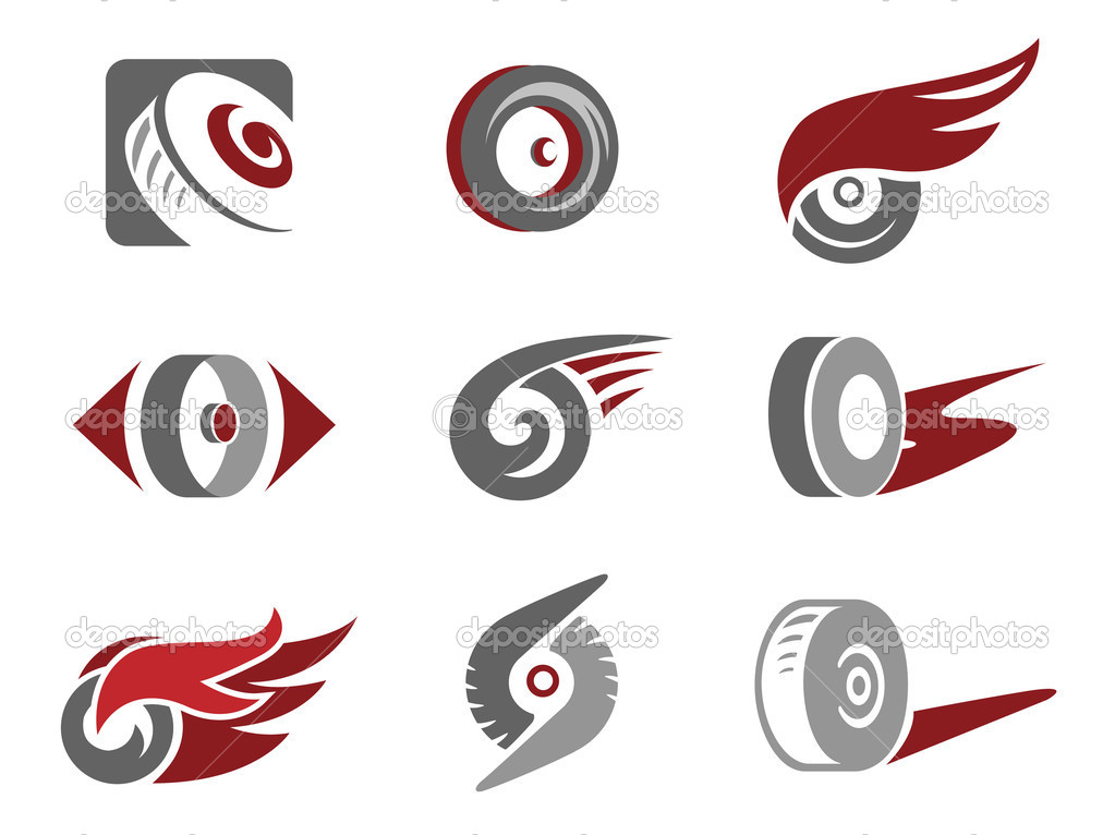 Set of rolling wheel symbols — Stock Vector #7970702