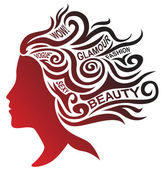 Stylized woman face and hair design — Stock Vector