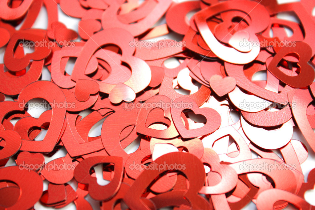 Red hearts confetti on white background — Stock Photo #9833060