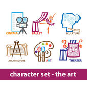 Character-set-the-art — Stock Vector