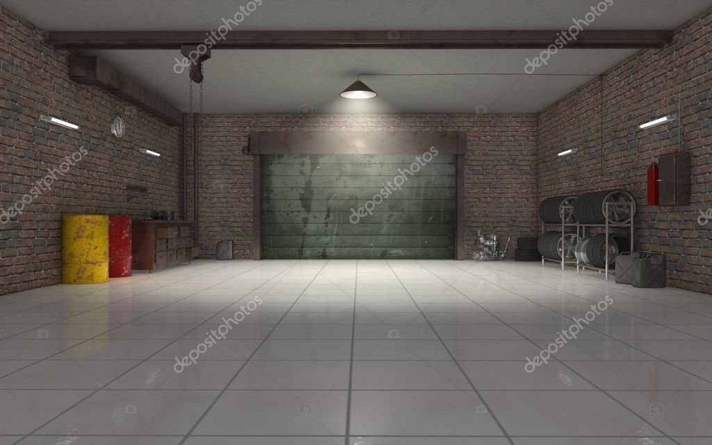 Empty Auto Repair Shop For Car Maintenance Stock Photo