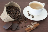 Coffee and other goodies — Stock Photo