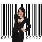 Businesswoman z czytnikiem kodów kreskowych — Stock Photo #8277782