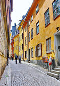 Along the streets of The Old Town (Gamla Stan) in Stockholm — Stock Photo