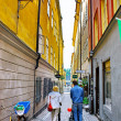 Along the street of The Old Town (Gamla Stan) in Stockholm — Stock Photo