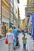 Turists on the street of The Old Town (Gamla Stan) in Stockholm — Stock Photo