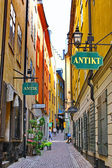 The street of The Old Town (Gamla Stan) in Stockholm — Stock Photo
