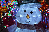 Christmas Concept With Snowman Lights At Night — Stock Photo