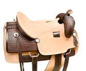Leather saddle for horses — Stock Photo