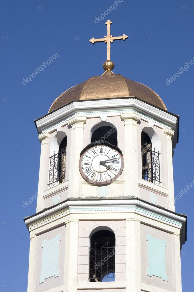 Old church clock and copper roof from Bulgaria — Stock Photo #9222464
