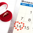 Wedding rings on the calendar, Valentine's Day — Stock Photo