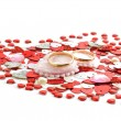 Stock Photo: Wedding rings on heart